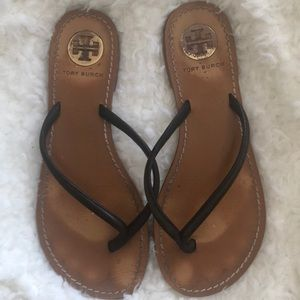 Tory Burch Black leather sandal flip flops 6